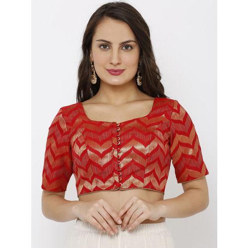 Salwar Studio Women Red Brocade Readymade Padded Saree Blouse