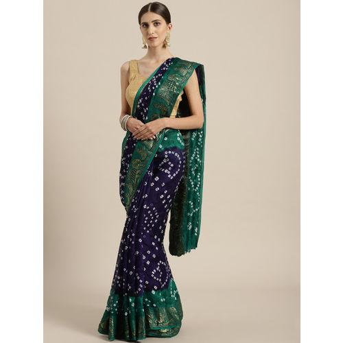 Geroo Jaipur Blue & Green Printed Bandhani Saree