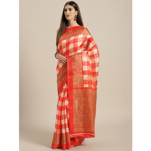 Rajesh Silk Mills Red & Orange Silk Cotton Checked Bhagalpuri Saree