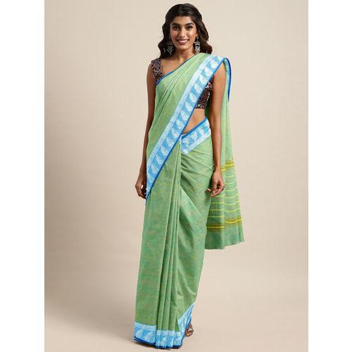 The Chennai Silks Green Pure Cotton Solid Chettinad Saree