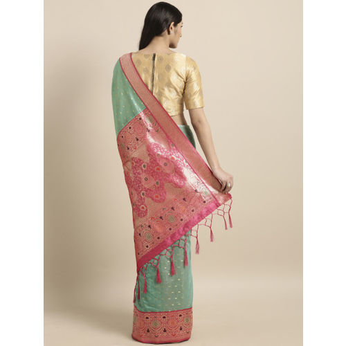 Varkala Silk Sarees Turquoise Blue & Pink Cotton Blend Woven Design Banarasi Saree
