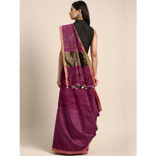 Mitera Magenta Handwoven Linen Solid Saree