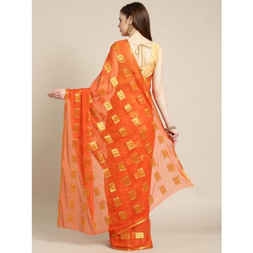 Ishin Orange & Golden Woven Design Saree