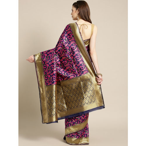 Ishin Women Navy Blue & Pink Woven Design Banarasi Saree