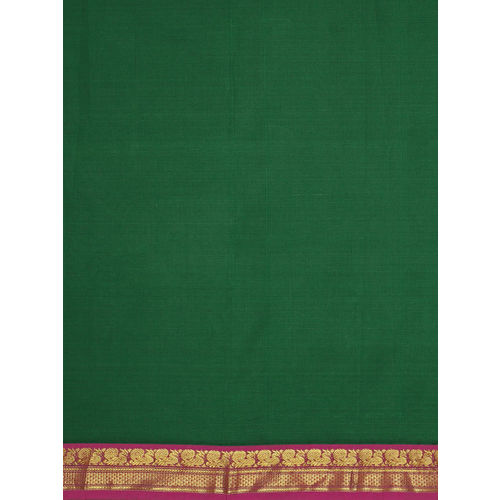 Pavechas Green & Pink Pure Cotton Solid Venkatgiri Saree