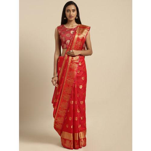Pisara Red & Gold-Toned Silk Cotton Woven Design Chanderi Saree