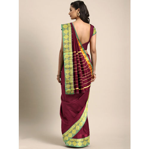 Pavechas Red & Green Pure Cotton Solid Venkatgiri Saree