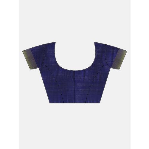Aradhya Lime Green & Navy Blue Silk Blend Woven Design Kanjeevaram Saree