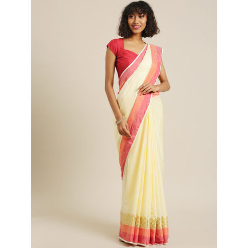 PACHE Cream-Coloured Solid Pure Silk Saree