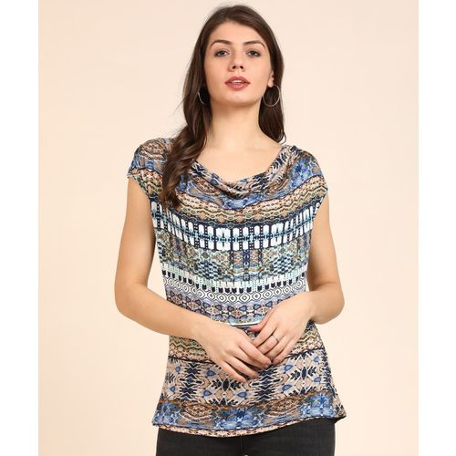 AND Casual Cap Sleeve Printed Women Multicolor Top