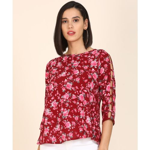 AND Casual 3/4 Sleeve Floral Print Women Maroon, Pink Top