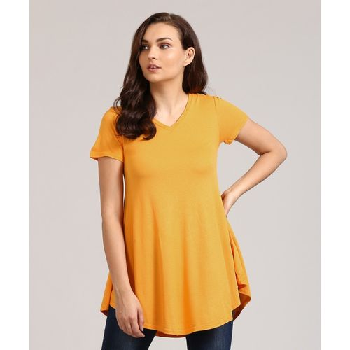 AND Casual Short Sleeve Solid Women Yellow Top
