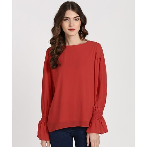 AND Casual Bell Sleeve Solid Women Orange Top