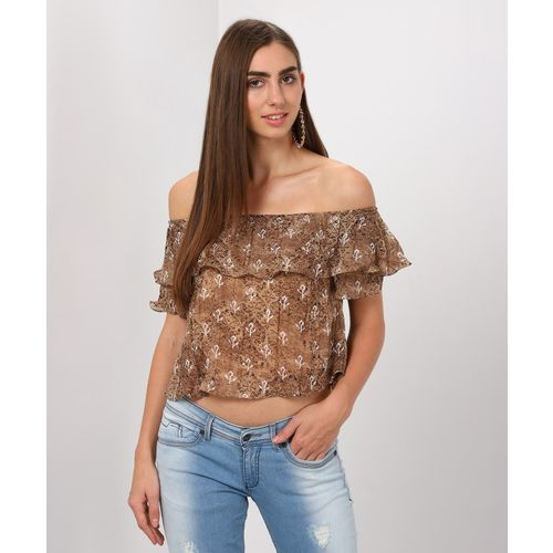 AND Casual Flutter Sleeve Printed Women Brown Top