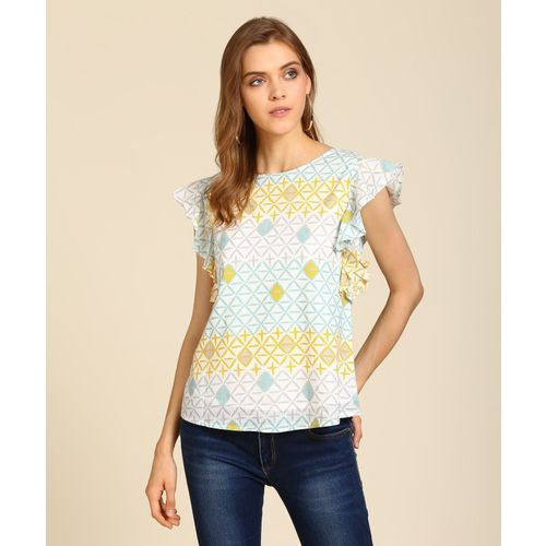 AND Casual Cap Sleeve Geometric Print Women Multicolor Top