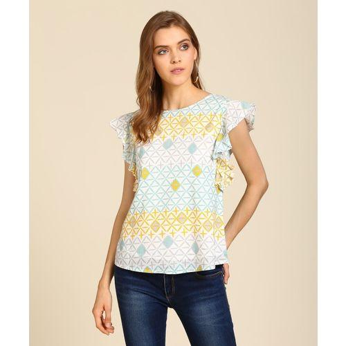 AND Casual Cap Sleeve Geometric Print Women Multicolor Top