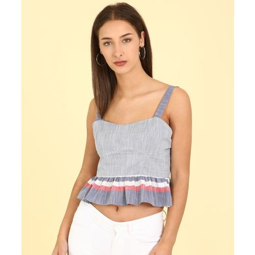 AND Casual No Sleeve Striped Women Multicolor Top