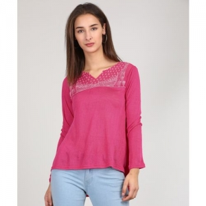 AND Casual Full Sleeve Embroidered Women Pink Top