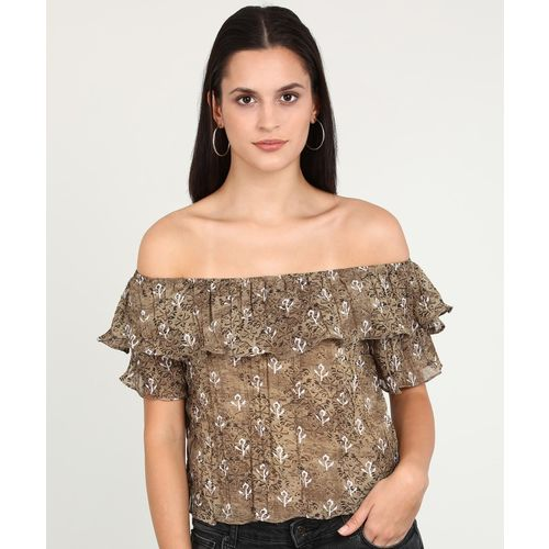AND Casual Half Sleeve Printed Women Brown Top