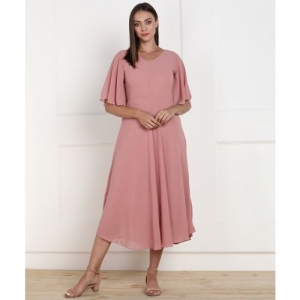 AND Women Fit and Flare Pink Dress