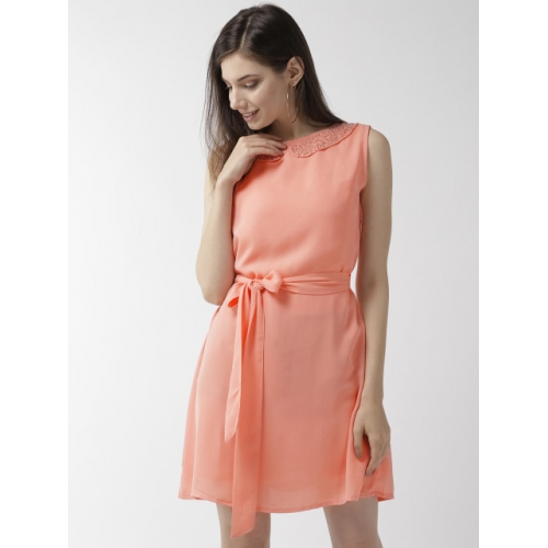 Rue Collection Women Peach-Coloured Solid A-Line Dress