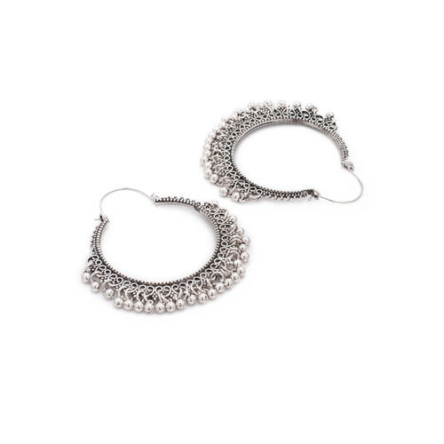 Rubans Silver-Toned & White Handcrafted Oxidised Circular Hoop Earrings