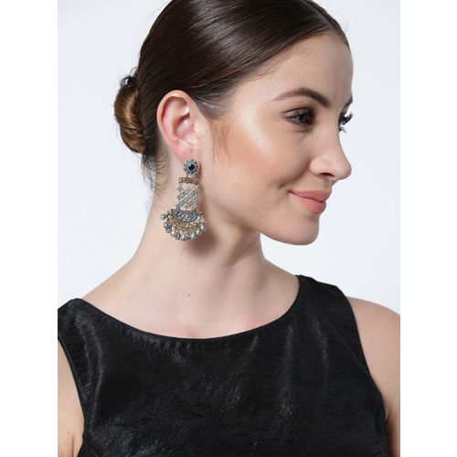 FIROZA Oxidised Silver-Toned & Antique Gold-Toned Textured Classic Drop Earrings