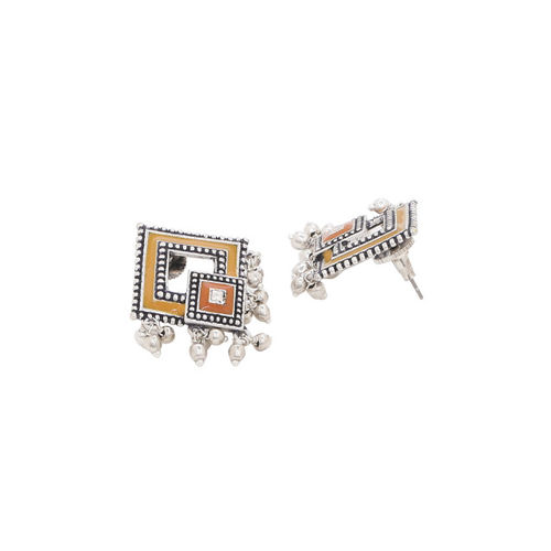 Studio Voylla Oxidised Silver-Plated Diamond Shaped Oversize Studs