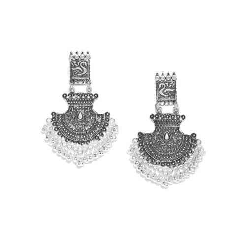 Infuzze Oxidised Silver-Toned Brass-Plated Textured Classic Drop Earrings