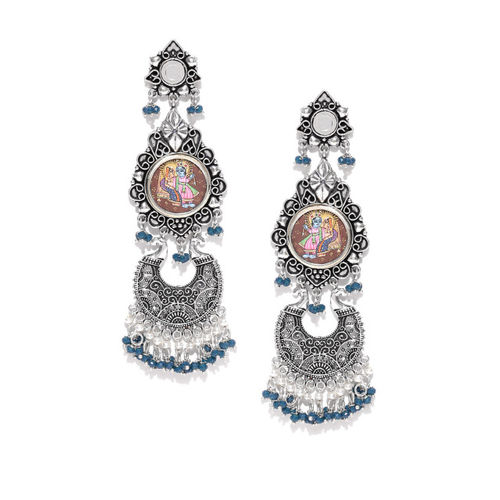 FIROZA Oxidised Silver-Toned & Blue Lord Radhakrishna Beaded Handcrafted Drop Earrings