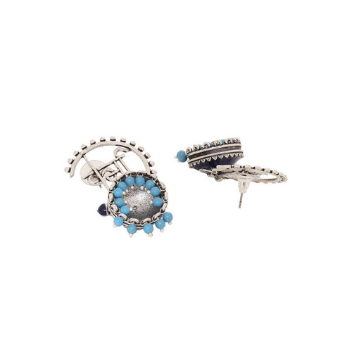 Studio Voylla Silver-Toned & Blue Dome Shaped Jhumkas