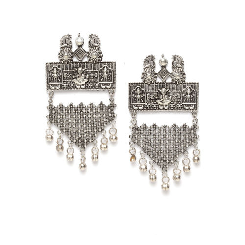 Moedbuille Women Silver-Plated Oxidised Contemporary Drop Earrings
