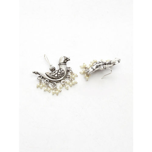 Moedbuille Silver-Toned Peacock Shaped Studs