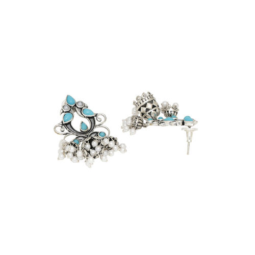 Voylla Silver-Plated & Blue Oxidised Dome Shaped Drop Earrings