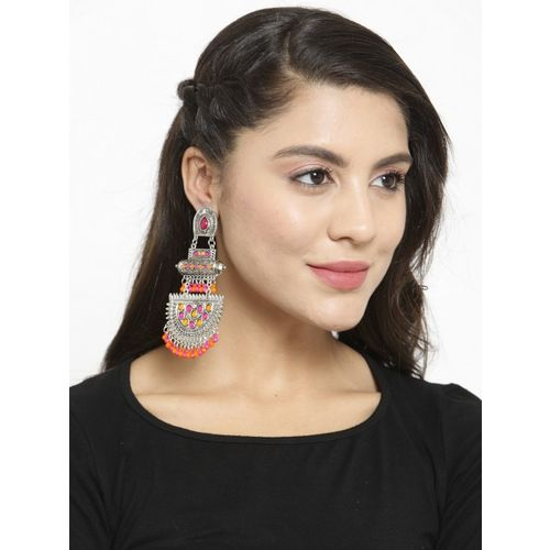 Moedbuille Oxidised Silver-Plated & Pink Handcrafted Crescent Shaped Drop Earrings