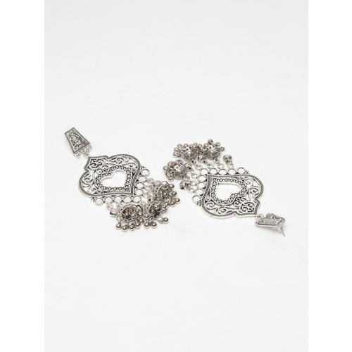 Moedbuille Silver-Plated Heart Shaped Jhumkas