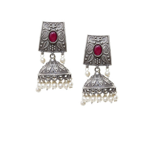 PANASH Silver-Plated Oxidized & Pink Dome Shaped Jhumkas