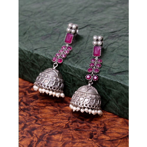 PANASH Silver-Plated & Pink Oxidized Dome Shaped Jhumkas