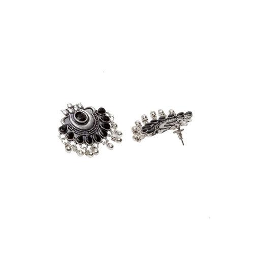 PANASH Silver-Plated & Black Oxidised Classic Drop Earrings