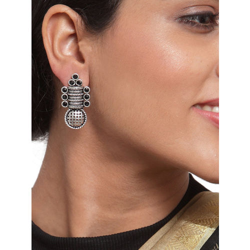 PANASH Silver-Plated Black Oxidised Contemporary Drop Earrings