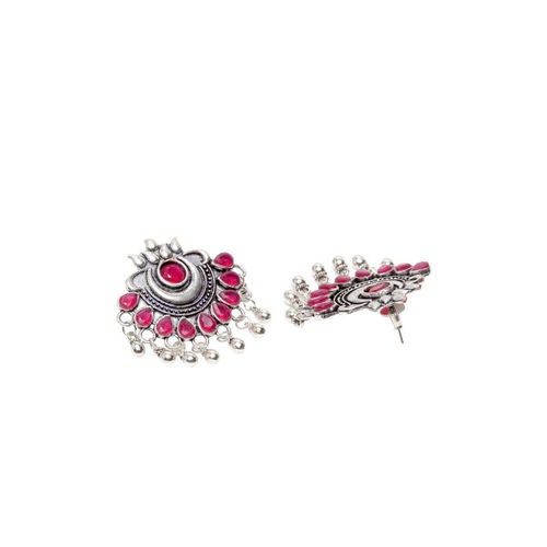 PANASH Women Oxidised Silver-Plated Red Contemporary Drop Earrings
