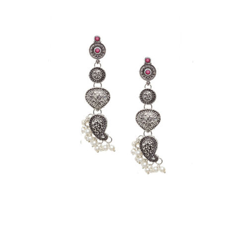 PANASH Silver-Plated Paisley Shaped Drop Earrings