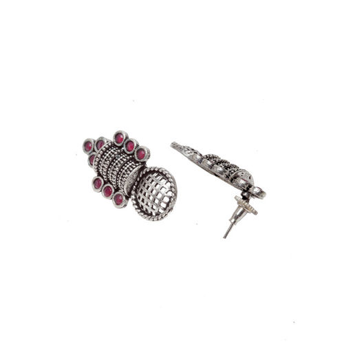 PANASH Silver-Toned & Red Classic Drop Earrings