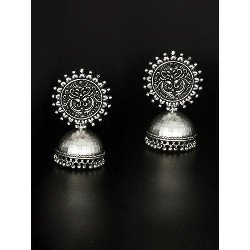 MIDASKART Oxidised Silver-Toned Rhodium-Plated German Silver Dome-Shaped Jhumkas