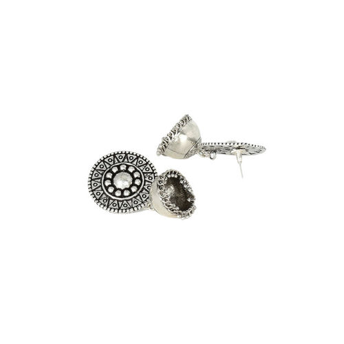 MIDASKART Silver-Toned Rhodium-Plated German Silver Oxidised Dome Shaped Jhumkas