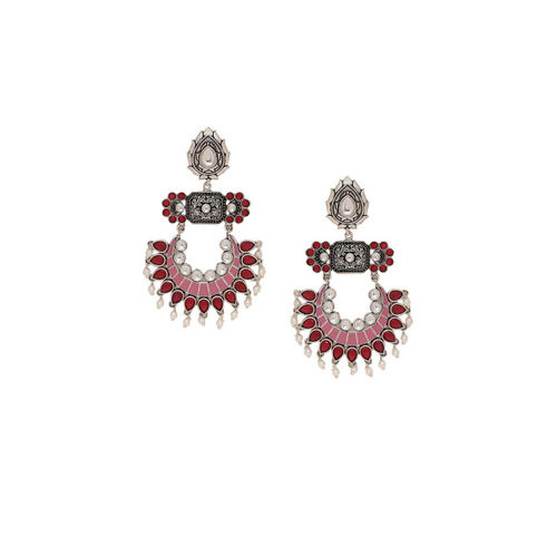 Voylla Silver-Plated & Oxidised Classic Drop Earrings