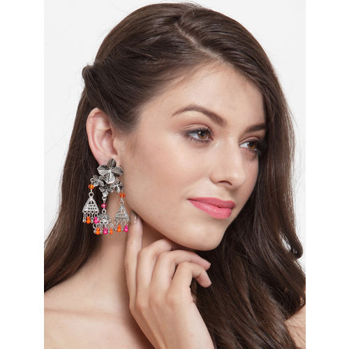 Moedbuille Silver-Plated & Pink Handcrafted Afghan Oxidised Floral Drop Earrings