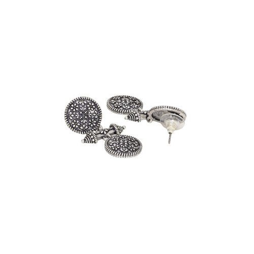 Voylla Silver-Plated Classic Oxidised Drop Earrings