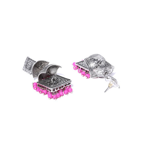 Sanara Pink & Silver-Toned Gold-Plated Handcrafted Oxidized Beaded Dome Shaped Jhumkas