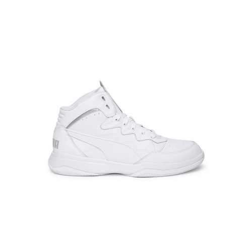 Puma Unisex White RB Playoff Mid-Top Leather Sneakers